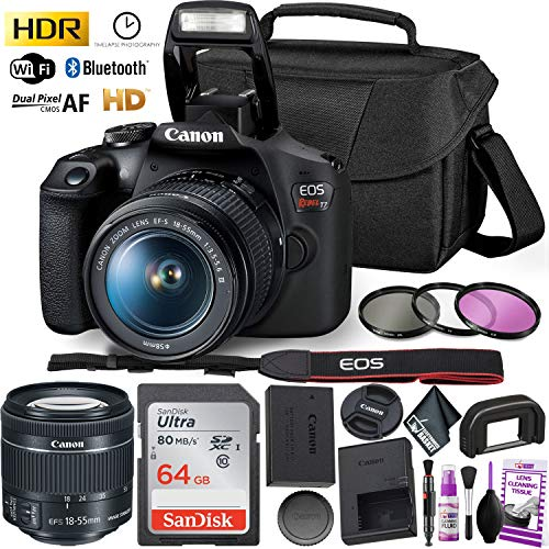Canon Rebel T7 DSLR Camera with 18-55mm DC III Lens Kit and Sandisk 64GB Ultra Speed Memory Card, Creative Lens Filters, Carrying Case | Limited Edition Bundle
