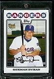German Duran RC Rookie Card Texas Rangers 2008 Topps Updates & Highlights Baseball Card in Protective Screwdown Display Case