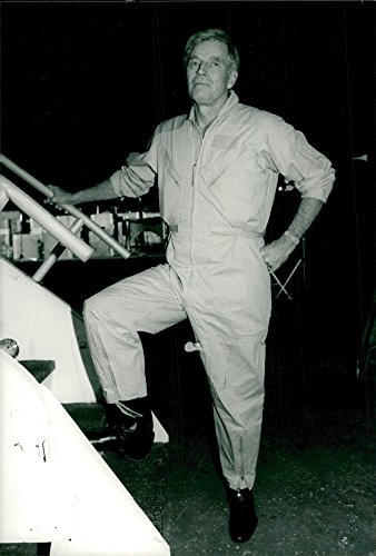 Vintage photo of Charlton Heston at the National Airport during the Texas Instruments big gala