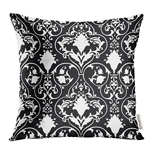 Golee Throw Pillow Cover Black Fleur Antique Scroll White Lis Damask Decorative Pillow Case Home Decor Square 20x20 Inches Pillowcase