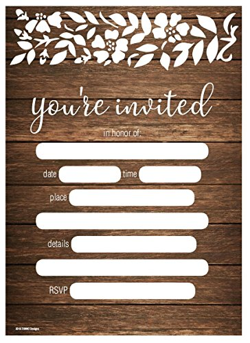 Wedding Invitations 5x7 50ct You're Invited Rustic Country Wood Floral Lace Fill in Party Invitation Any Occasions Bridal Shower Baby Rehearsal Dinner Birthday Party Anniversary Card Invites (Wedding Invitations Country Style)