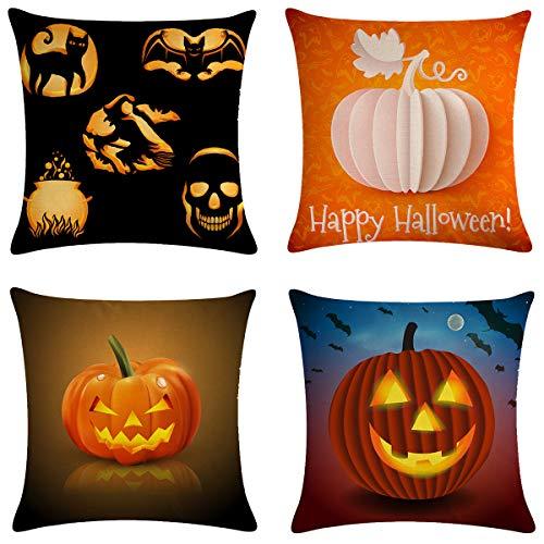 XIECCX Halloween Pillow Covers Pumpkin Theme Linen-Cotton Throw Pillow Case Thanksgiving Home Decorations for Cushion Sofa Party Set of 4,18×18]()