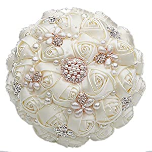 KUKI SHOP Wedding Bouquet for Bride Bridal Bridesmaid Satin Brooch Flower Valentine's Day Confession Party + 1 Free Boutonniere 21 cm 107