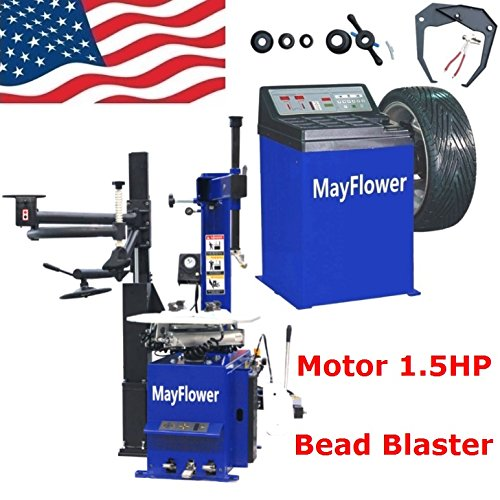 Mayflower - 1.5 HP Automatic Tire Changer Wheel Changers Machine Rim Balancer Combo 960 680 Bead Blaster / 1 Year Full Warranty (Best Tire Balancing Machine)