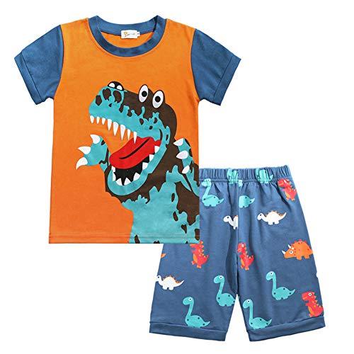 - Little Boys Short Set Pajamas for Boys 100% Cotton Toddle Airplane Dinosaur Sleepwear Summer Clothes Size 1-7T