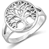 MIMI Sterling Silver Tarnish-Free Open Tree Of Life Ring w/Free Gift Box Size 5, 6, 7, 8, 9, 10, 11, 12