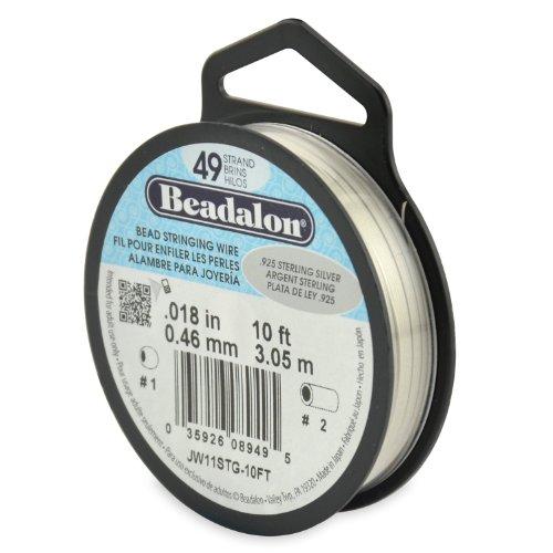 (Beadalon 49-Strand Bead Stringing Wire, 0.018-Inch.925 Sterling Silver)