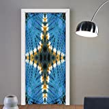 Gzhihine custom made 3d door stickers Tie Dye Decor Star Figure in Middle of Color Power Textured Ethnic Asian Ikat Pattern Blue Orange For Room Decor 30x79