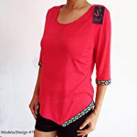 Blusa Cuello Redondo Bordado Etnico Bordada Camiseta Shiffon Manga 3/4 Envio Gratis