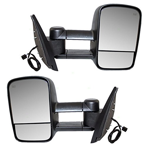 Driver and Passengers Power Tow Telescopic Mirrors Heated Non-OEM Replacement for Cadillac Chevrolet GMC Pickup Truck SUV 20862098 20862099