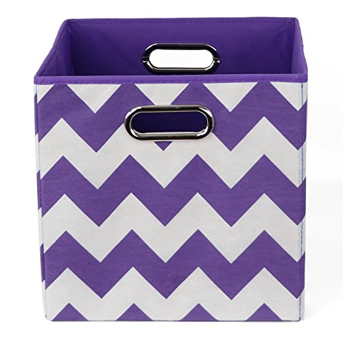 Modern Littles BRISTOR101 Color Pop Chevron Folding Storage Bin Purple