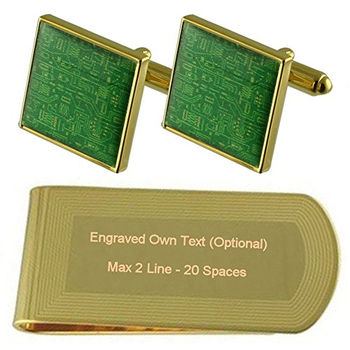 Gold tone Clip Board Set Cufflinks Money Gift Engraved Circuit THwAvqH