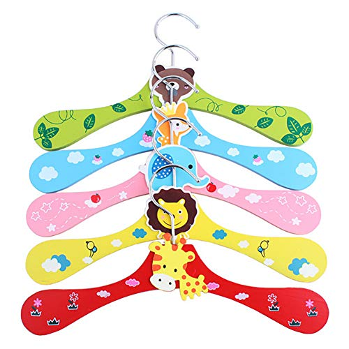 Xiton 3PCS Cartoon Animal Pattern Hanger Wooden Coat Hangers Space-Saving Clothes Hangers Non-Slip Clothes Hangers for Hanging Kids and Baby's Coats Bags Toys