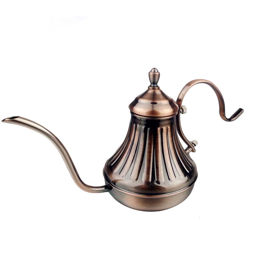 Funnytoday365 Retro Design Bronze Stainless Steel Tea Pot Coffee Maker Latte Cappuccino 420Ml Press Pot Home Use Tea Pot