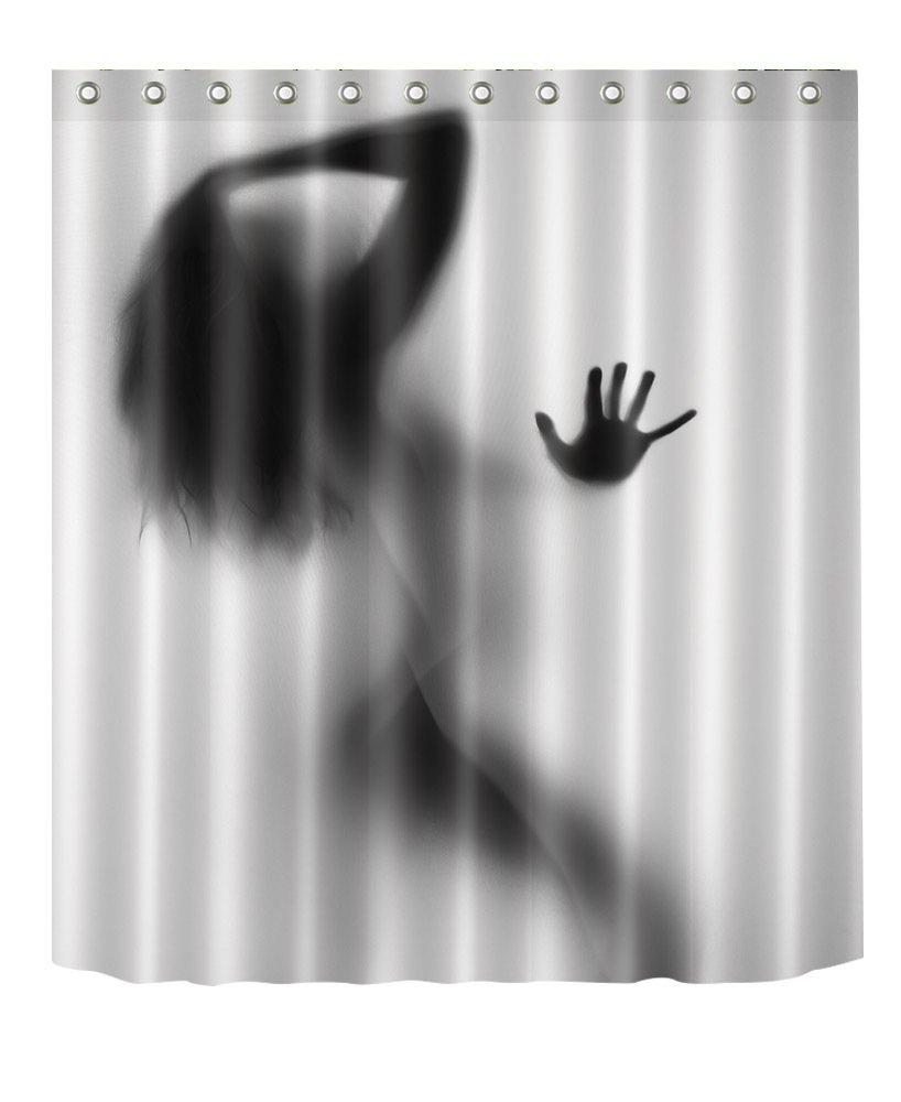 H Cortinas de Ducha antibacteriana CS-YL69 *71 Estampado Digital 3D 59 Qchengsan Cortina de Ducha de Tela de poli/éster Impermeable Resistente al Moho L 1