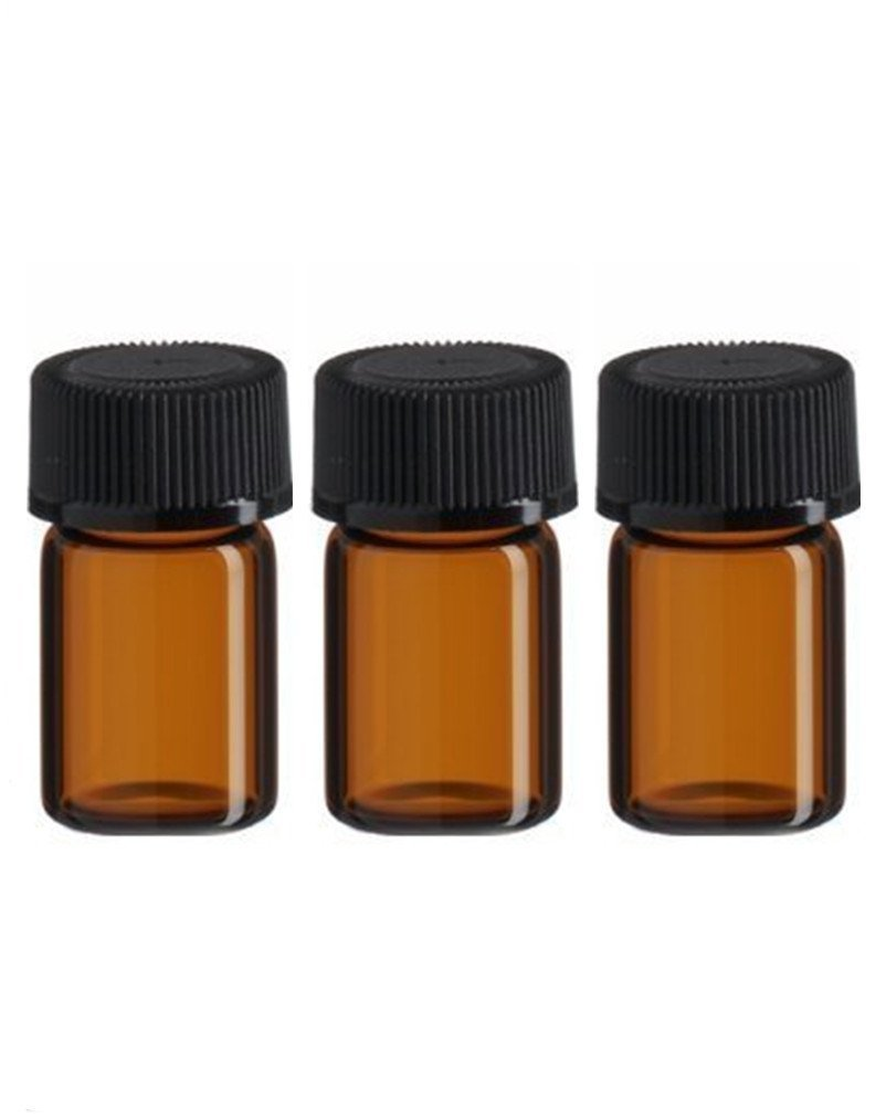 50pcs 5 8 dram 2 ml Amber Glass Essential Oil Bottle with Orifice Reducer and cap