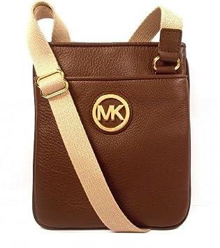 michael kors fulton crossbody luggae leather gold mk logo messenger rh amazon co uk