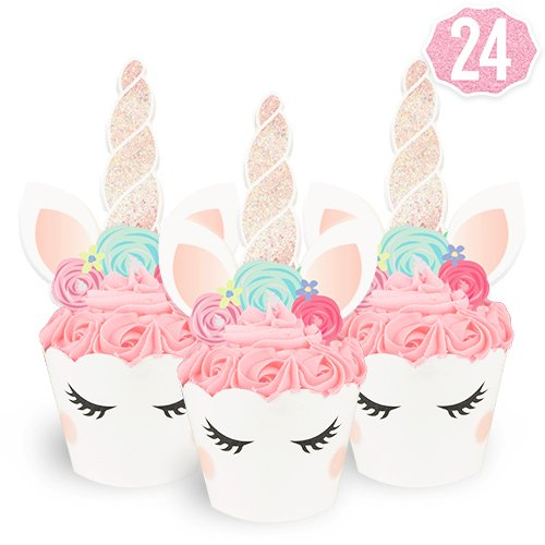 Unicorn Cupcake Toppers + Wrappers | Birthday Party Supplies, Unicorn Horn Cake Decoration + Baby Shower - Set of - Assembled Cupcake