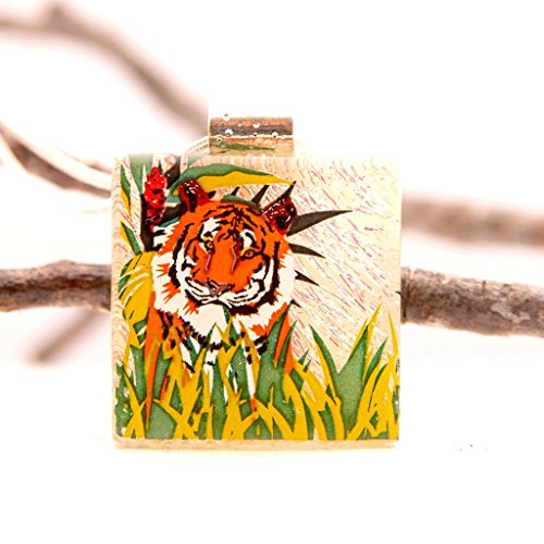 Tiger Pendant, Tiger Jewelry, Tiger Necklace, Fused Glass Pendant, Glass Necklace, Gift for Tiger Lover, Tiger's Eye Pendant, Pendant Slide, Copper Dichroic, Glass Pendant, Gift For Nature Lover
