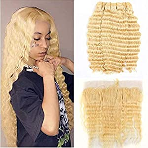Fabeauty 613 Blonde Human Hair 3 Bundles with Frontal Brazilian Deep Wave with Baby Hair Frontal 100% Ear to Ear Virgin…
