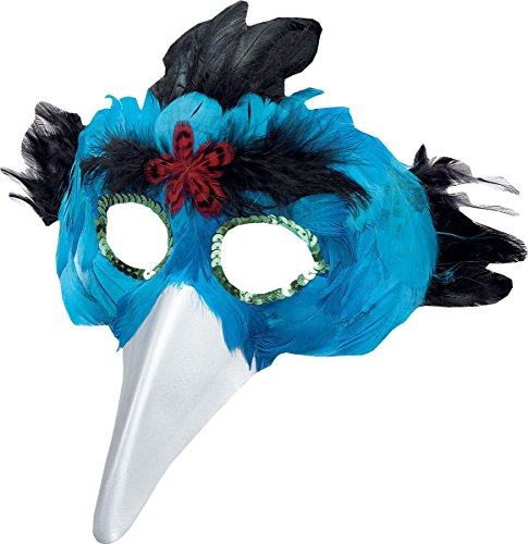 Women Halloween Fancy Party Masquerade Bird Feather & Beak Eye Mask Turquoise