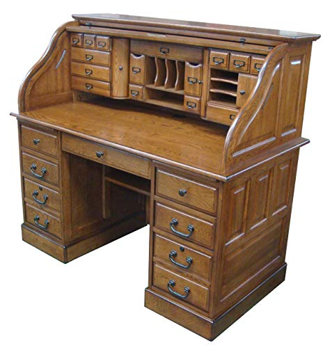 Roll Top Desk Solid Wood - 54 inch Deluxe Executive Oak Desk for Home Office Secretary Organizer Roll Hutch Top Easy Assembly Quality Crafted Construction
