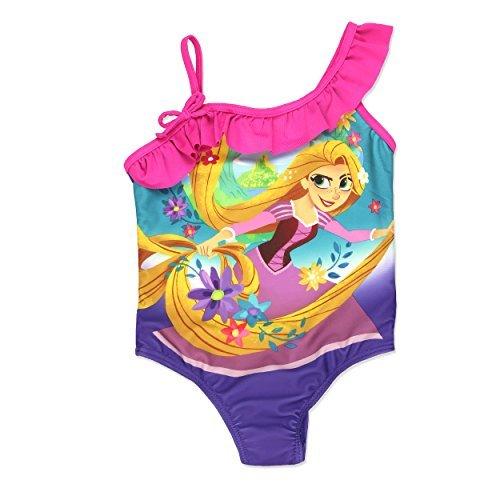 Disney Tangled Rapunzel Princess Girls Swimwear Swimsuit (4, Purple/Pink) (Swimsuit Piece One Disney)