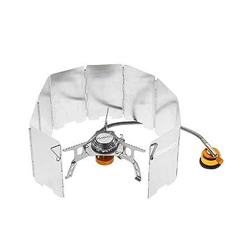 TOMSHOO Kit Compacto plegable de Estufa Ultraligera de Gas de Camping al Aire Libre con Parabrisas de 9 Placas y con Adaptador de Gas: Amazon.es: Deportes y ...