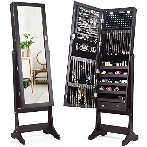 Giantex 2 LEDs Lockable Standing Jewelry Cabinet with Full-Length Mirror, Lockable Mirrored Jewelry Armoire with Scarf Rod 2 Drawers and 4 Adjustable Angle, Brown (With Cabinets Jewelry Mirror)