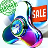 PRO Rainbow Fidget Spinner, Unique Metal Tri Hand Spinning Toy For Fidgets Tricks, Best Gift For Stress Relief & Relaxation Adults & Kids With Autism Anxiety, Mini Figit Toys, Limited Edition Spinners