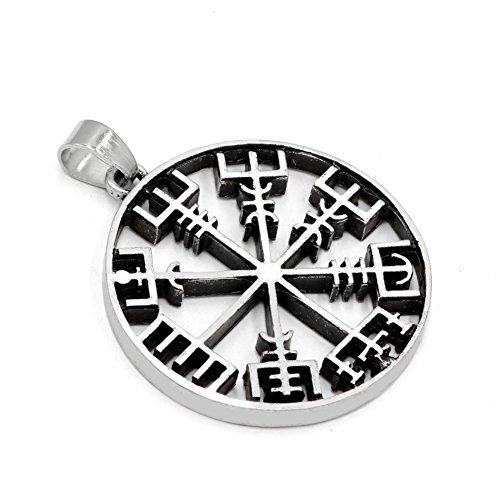 TTKP Amulet Pantgram Rune Norse Viking Odin'S Symbol Of Runic Pendant Necklace Runes Vegvisir Compass Pendant 2 Color