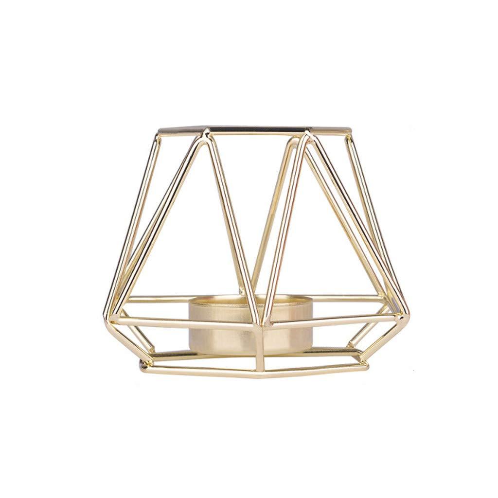 Gold,M TianranRT Nordisch Stil Schmiedeeisen Eisen Geometrisch Kerze Halter Zuhause Dekoration Metall Kunsthandwerk