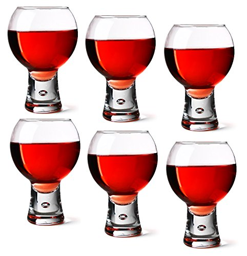- Durobor Set of 6 14oz / 410ml Short Stem Bubble Base Red Wine Glasses 06-11-102
