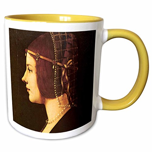 3dRose BLN Leonardo da Vinci Collection - Portrait of Beatrice DEste by Leonardo da Vinci 1491-15oz Two-Tone Yellow Mug (mug_126662_13)