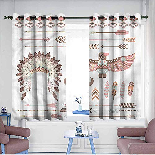 - Mdxizc Simple Curtain Native American Arrow Feather Eagle Bedroom Blackout Curtains W55 xL63 Suitable for Bedroom,Living,Room,Study, etc.
