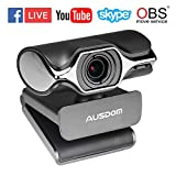 AUSDOM USB Computer Webcam, AW620 High Definition 1080P Widescreen Network USB Plug and Play Desktop/Laptop PC HD Camera with Nosie Cancelling Microphone for Windows/Mac OS Skype OBS Live Streaming