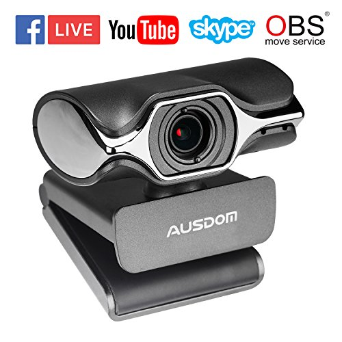 AUSDOM USB Computer Webcam, AW620 High Definition 1080P Widescreen Network USB Plug and Play Desktop/Laptop PC HD Camera with Nosie Cancelling Microphone for Windows/Mac OS Skype OBS Live Streaming by Impress Life