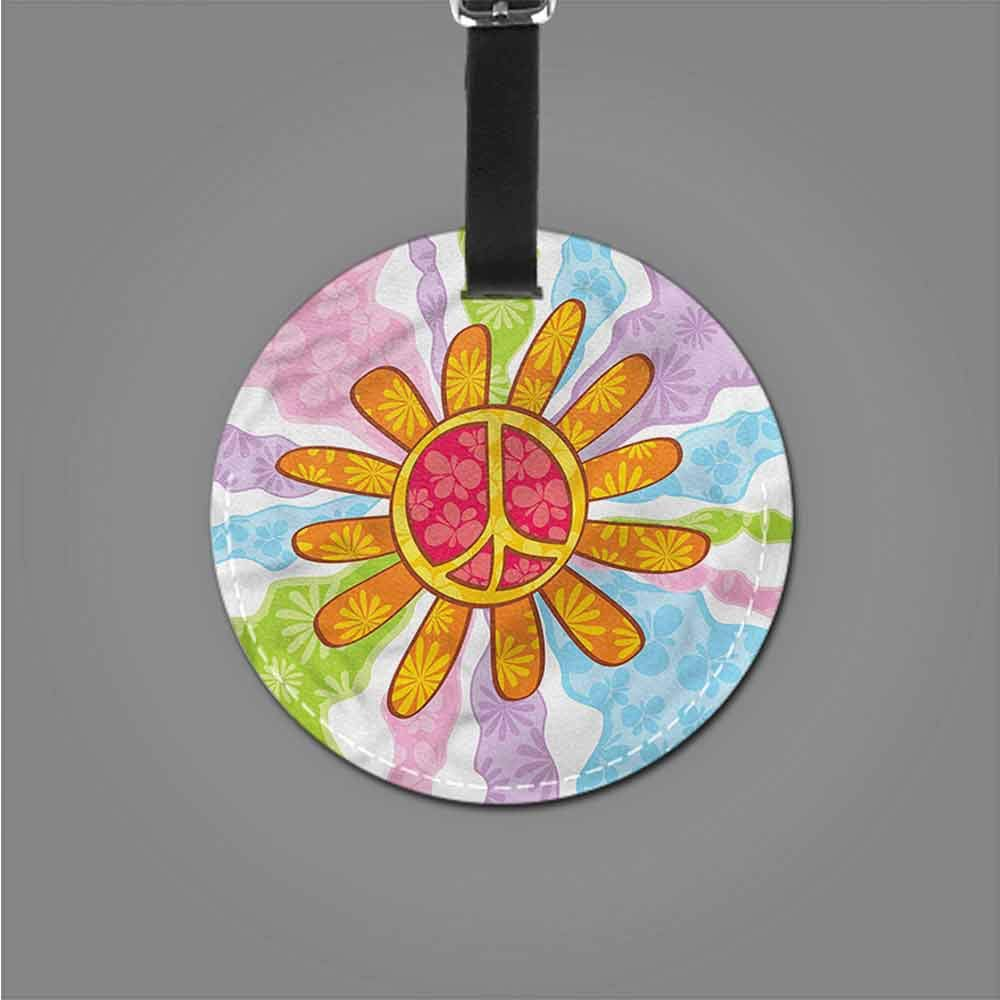 Luggage Tags Groovy,Hippie Peace Symbol Slogans Travel Luggage Label