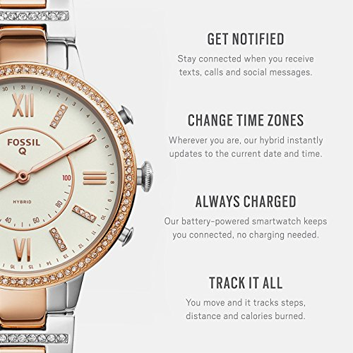 ec0e31759 Amazon.com: Fossil Q Women's Virginia Two-Tone Stainless Steel Hybrid  Smartwatch, Color: Rose Gold-Tone, Silver-Tone (Model: FTW5011): Watches