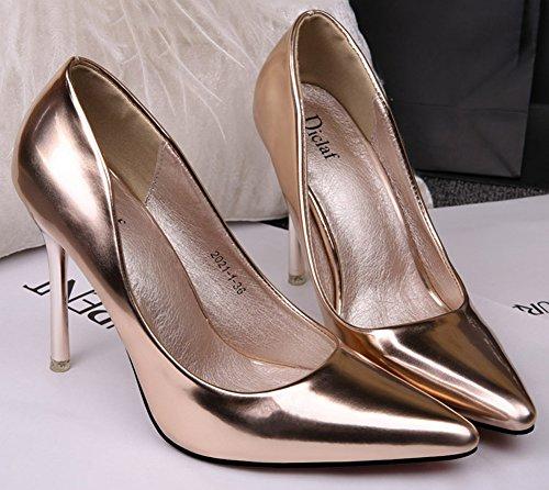 No.66 Town Women's Stiletto High Heel Dress Pumps Court Shoes Champagne Gold RlqlpbW