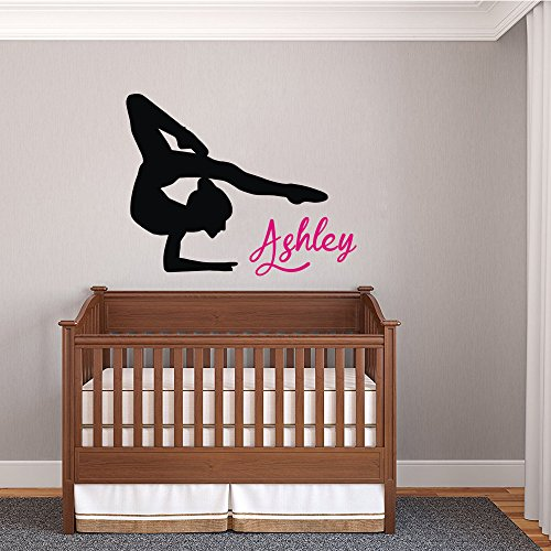 Vinyl Wall Decals Stickers of Girls Gymnastics Personalized Name for Girls Room Nursery Bedroom Home Decor 35