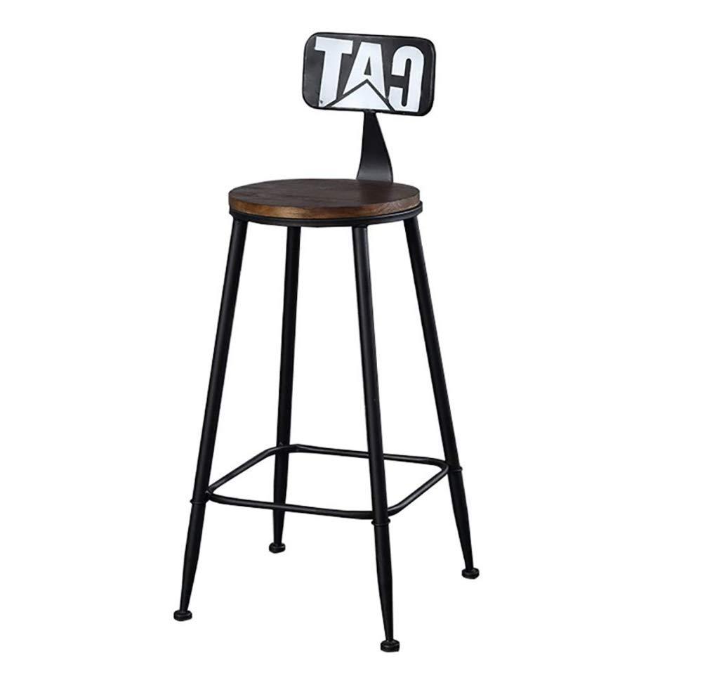 BLACK Loft Iron Bar Stool American Minimalist Chair High Stool Bar Stool Solid Wood Bar Stool Modern - Multiple colors (color   Yellow)
