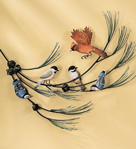 Birds in Pine Tree Wall Sculpture - Cardinal Sculpture - Nuthatch Sculpture - Chickadee Sculpture - Bird Wall Sculpture