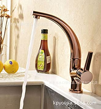 Rosegold Kitchen Faucet Curved Sink Faucet Basin Faucets Kitchen - Rose gold kitchen faucet