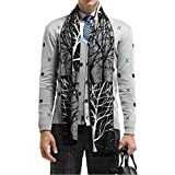 Joyci Fashion Super Soft Men's Cashmere Feel Tree Scarf Infinity Winter Keep Warm (Black White)