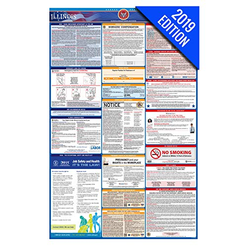 (2019 Illinois Labor Law Poster – State, Federal, OSHA Compliant – Laminated Mandatory All in One Poster)