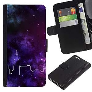 LASTONE PHONE CASE / Lujo Billetera de Cuero Caso del tirón Titular de la tarjeta Flip Carcasa Funda para Apple Iphone 6 PLUS 5.5 / City Skyline Stars Purple Deep