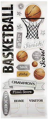 me & my BIG ideas Self-Adhesive Designer Chipboard, (Basketball Scrapbooking Paper)