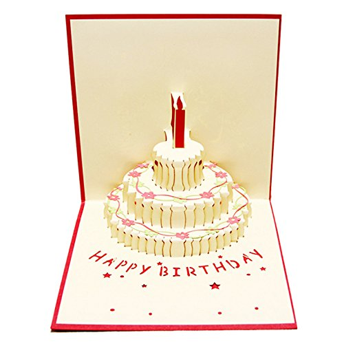 3D Handmade Custom Birthday Invitations Cards Wishes Messages Greeting Gift Cards Postcards Vintage Laser Cut Pop Up Cake(03)