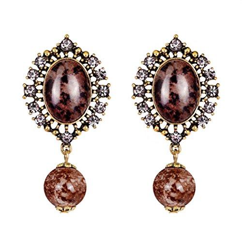Alonea Zircon Drop Earrings, Women Fashion Zircon Earrings Diamond-encrusted Love Heart Earring Ear Studs Vintage (Red❤️)